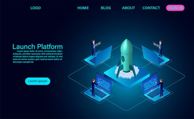 Launch platform and successful project launching a rocket of growth landing page