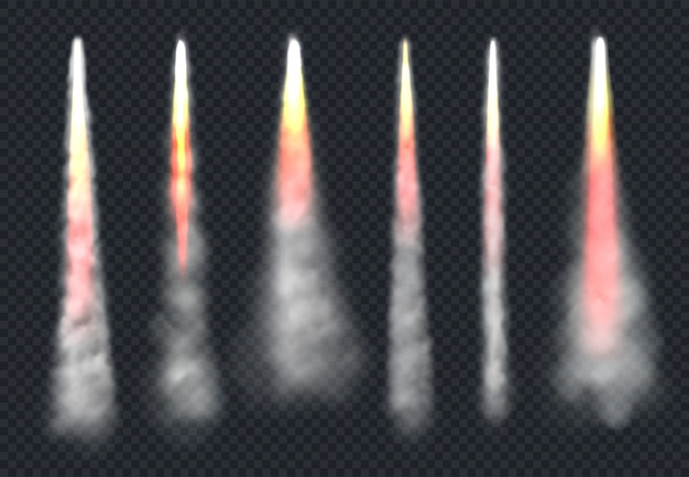 Launch rocket smoke. aircraft flying effect fog and fire speed flowing sky steam realistic templates