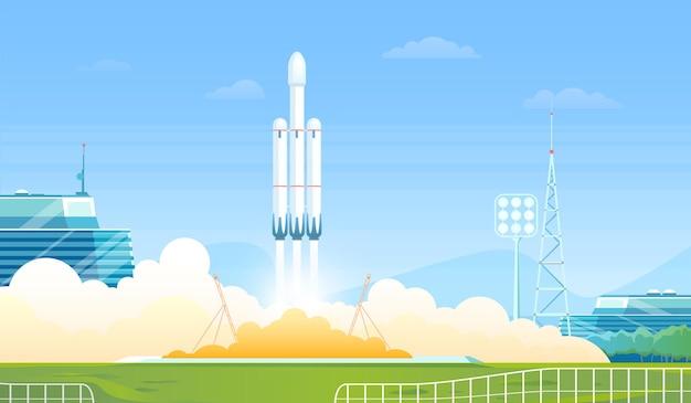 Запуск ракеты векторные иллюстрации.