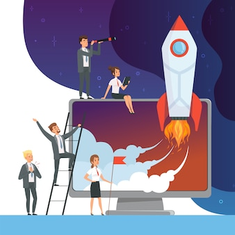 Launch startup concept. business s of office managers with rocket space new idea of web technology  pictures