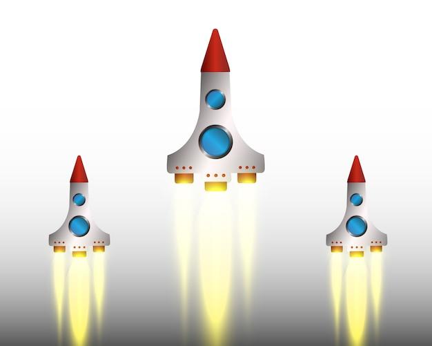 ロケットで発射。宇宙ロケット。