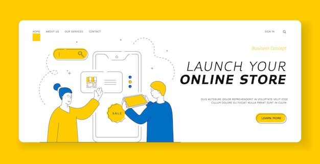 オンラインストアのランディングページバナーテンプレートを起動します。オンラインストアのウェブサイトを男性に見せ、販売中に商品を選ぶのを手伝う女性。フラットスタイルのイラスト、細い線画のデザイン