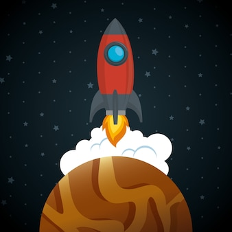 Launcher rocket with planet