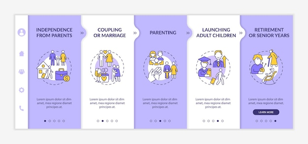 Launching adult children onboarding vector template. responsive mobile website with icons. web page walkthrough 5 step screens. senior years color concept with linear illustrations