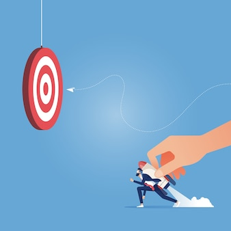 Launching in to business concept-leader launching worker go to target