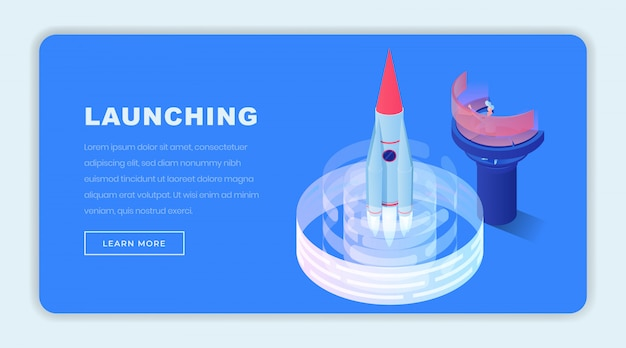 Launching business isometric landing page template
