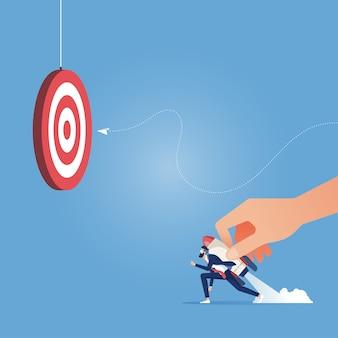 Запуск в бизнес-концепцию - лидер, запускающий рабочий, идет к цели