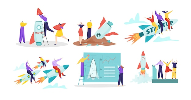 Launching new product concept with rocket symbol in business development illustration