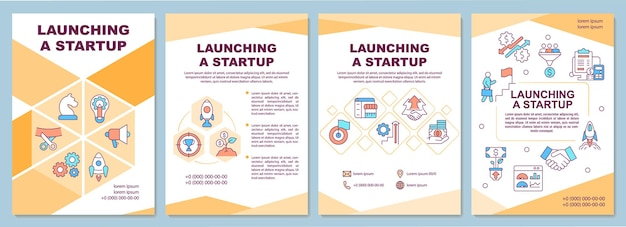 Launching startup brochure template. business development. flyer, booklet, leaflet print, cover design with linear icons. vector layouts for presentation, annual reports, advertisement pages