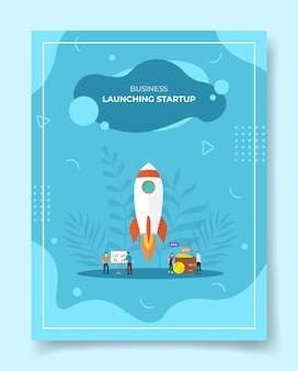 Launching startup concept people around rocket fly takeoff chart board wallet coin for template