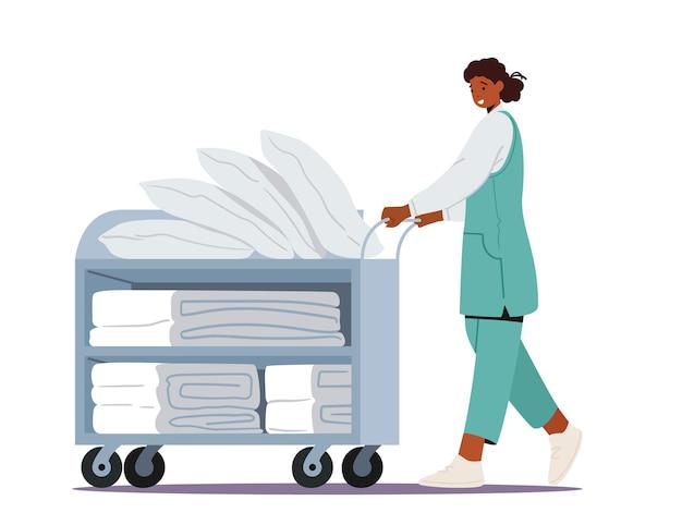 세탁소 회사 또는 호텔 서비스. 전문 메이드 작업 프로세스 푸시 트롤리의 여성 캐릭터 직원