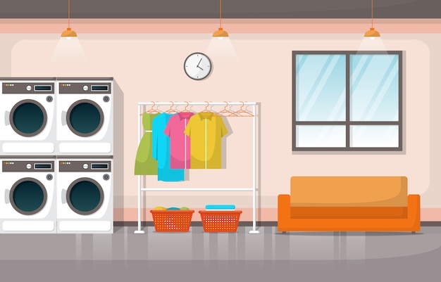 Laundromat clothes washing machine laundry tools modern interior