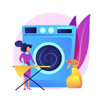 ランドリーとドライクリーニングの抽象的な概念図。ランドリー施設業界、清掃および修復サービス、集配サービス、小規模ニッチビジネス