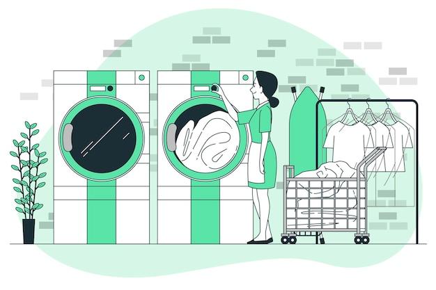 세탁 및 드라이 클리닝 개념 그림