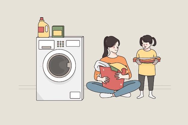 세탁 및 어린이 개념으로 시간을 보내는