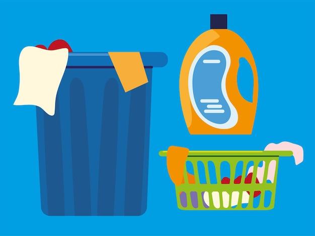 Корзина для белья и моющее средство