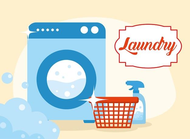 주황색 배경에 세탁 바구니 세제와 세탁기
