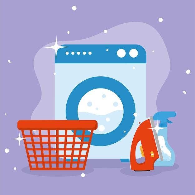 보라색 배경에 세탁 바구니 세제 다리미와 세탁기