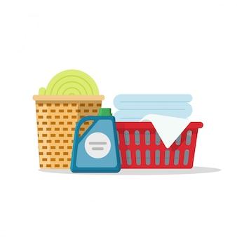 Laundry on baskets vector illustration flat cartoon
