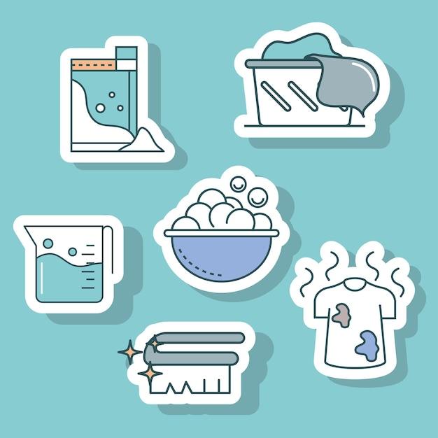 Laundry cartoon stickers