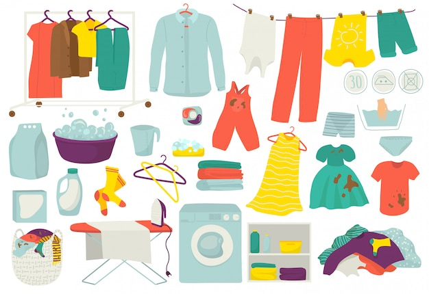 洗濯物、清潔で汚れた服、イラストの洗濯セット。洗濯された服とアイロンのアイコン。洗濯機、洗濯機、バスケット、洗剤石鹸、コインランドリー。