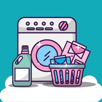 Laundry cleaning illustration with washing machine