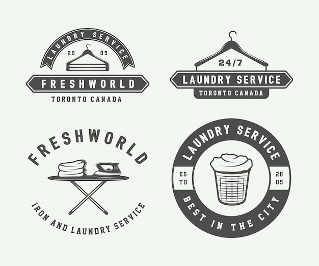 Laundry, cleaning logos, emblems