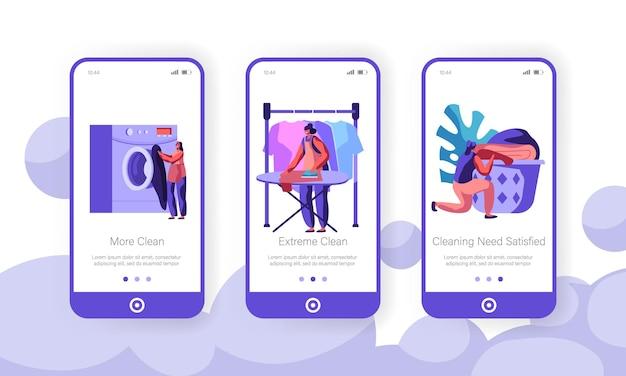 세탁 개념. 모바일 앱 페이지 온보드 화면 세트