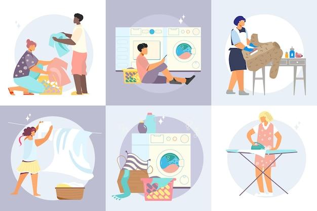 Концепция дизайна прачечной с квадратными композициями грязной одежды в корзинах стиральных машин и иллюстрацией человеческих персонажей
