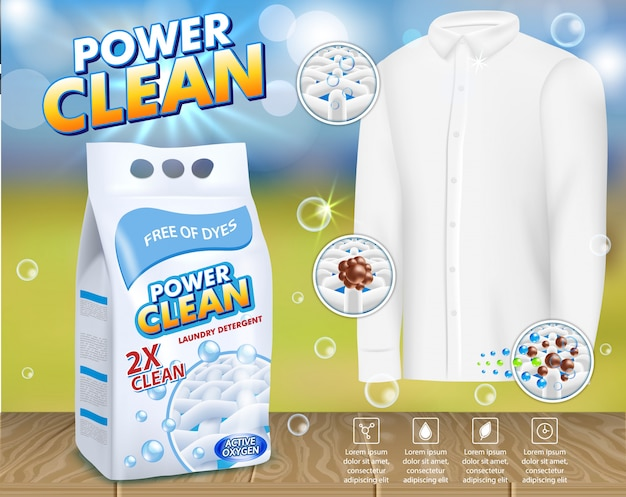 Laundry detergent advertising vector template