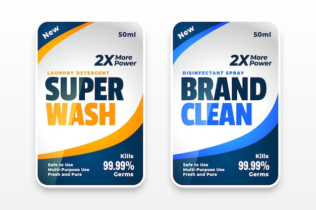 Set di etichette e adesivi per detersivo per bucato