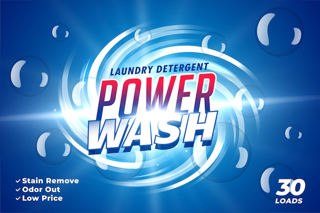 Laundry detergent packaging for power wash