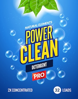 Laundry detergent packaging template design. detergent powdery design underwater clean detergent fresh concept