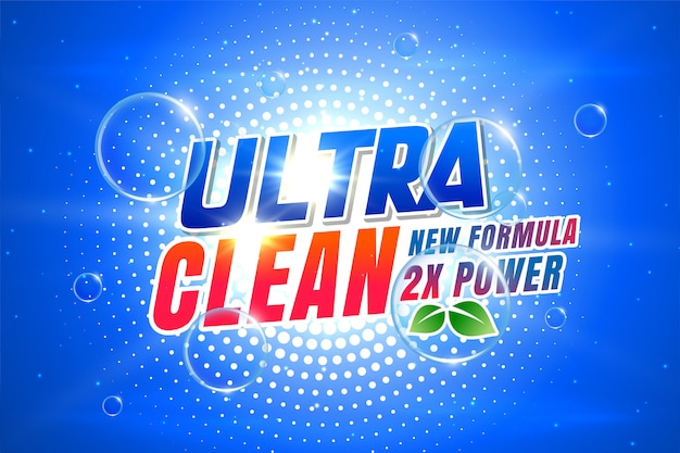 Laundry detergent packaging for ultra clean