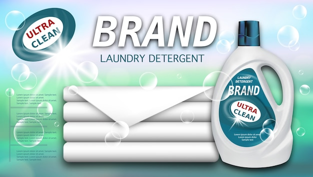 Laundry detergent in plastic container and clean towels, package design for liquid detergents.