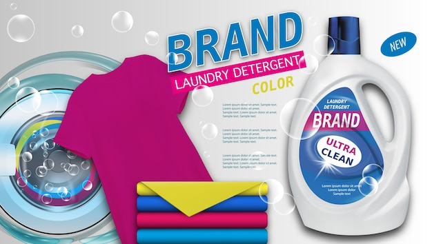 Laundry detergent in plastic container on light background, clean color towels and t-shirt.