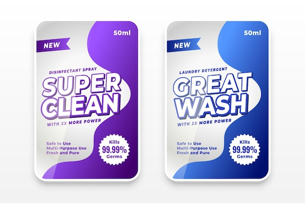 Laundry detergent promotional labels template