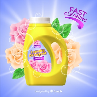 Laundry detergent sale realistic advertisement