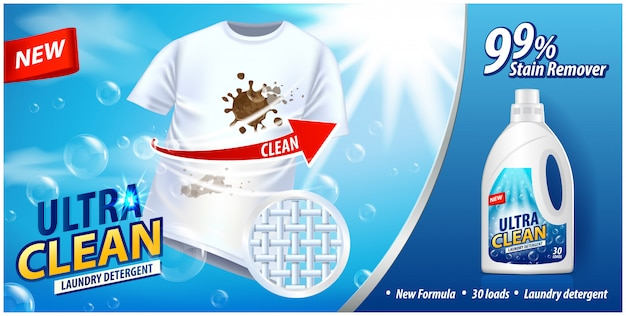 Laundry detergent, stain remover ad template. ads poster  on blue background with white t-shirt.  illustration