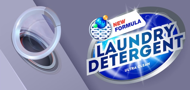 Laundry detergent for ultra clean washing template for laundry detergent package design