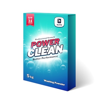 Laundry detergent, washing poweder product box vector template. detergent powder packaging for hygiene and wash cloth illustration