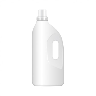 Laundry detergent white plastic bottle,  realistic packaging