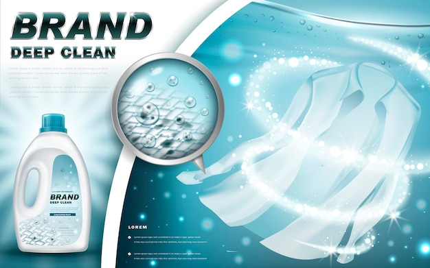 Laundry detergent with close up that cleans dirt in clothing