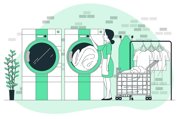 Illustrazione del concetto di lavanderia e lavaggio a secco