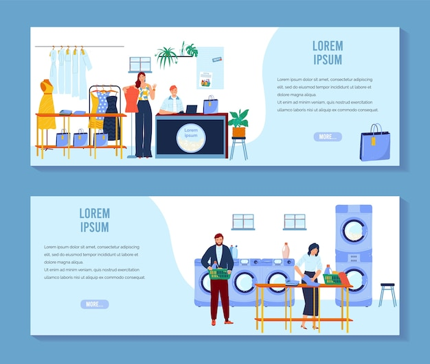 Laundry, dry cleaning vector illustration set, cartoon people clean clothes in laundromat, cleaners working in cleaning service