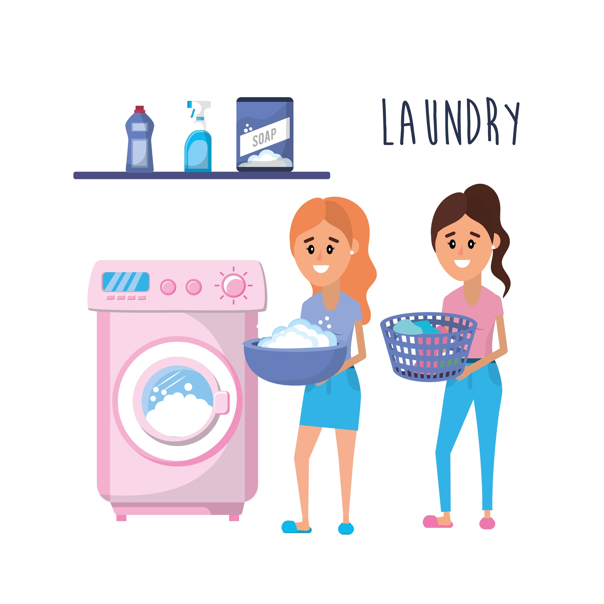Laundry equipment and women doing a domestic job
