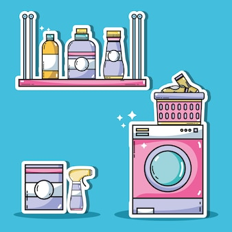 Laundry equipment to clean the domestic clothes vector illustration