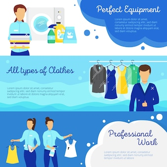 Laundry horizontal banners set with professional work symbols