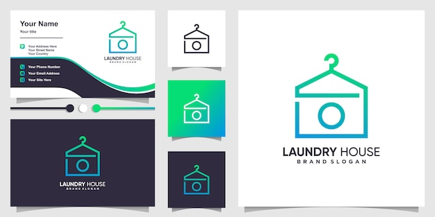 Laundry house logo template and business card design premium vector
