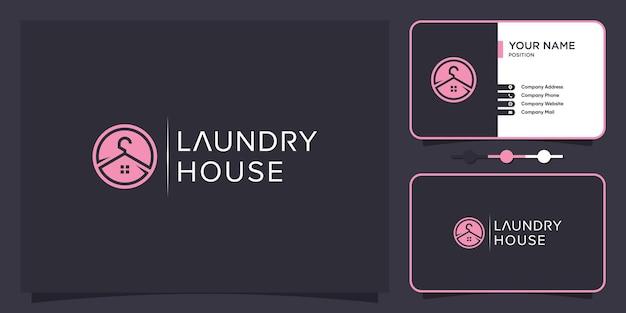 독창적인 독특한 스타일의 세탁소 로고 premium vector